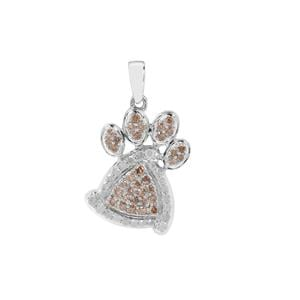 Champagne Diamond Animal Paw Pendant with White Diamond in Sterling Silver 0.75ct