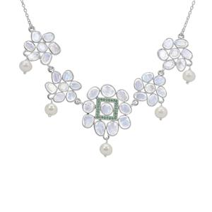 Rainbow Moonstone, Kaori Cultured Pearl Necklace with Zambian Emerald in Sterling Silver