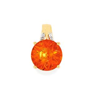 Lehrer QuasarCut Madeira Citrine Pendant with Diamond in 9K Rose Gold 2.82cts