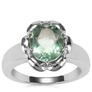 Tucson Green Fluorite Ring in Sterling Silver 3.09cts