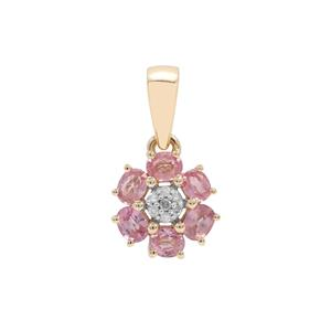 Padparadscha Sapphire Pendant with Diamond in 9K Gold ATGW 1ct