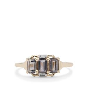 Burmese Grey Spinel Ring with White Zircon in 9K Gold 1.45cts