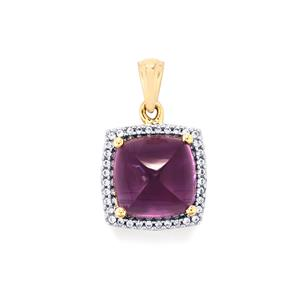 Bahia Amethyst Pendant with White Zircon in 10K Gold 6.04cts