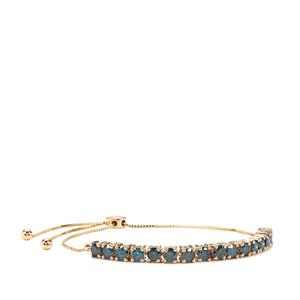 Blue Diamond Slider Bracelet in 10K Gold 3.12cts