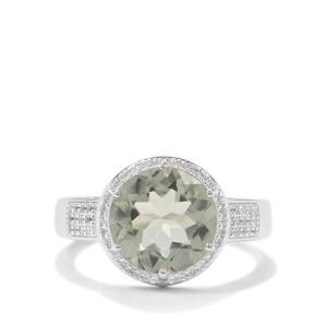 Prasiolite & White Zircon Sterling Silver Ring ATGW 3.61cts