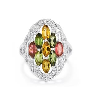 Rainbow Tourmaline Ring with White Topaz in Sterling Silver 2.63cts