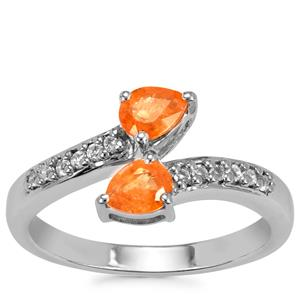 Mandarin Garnet Ring with White Topaz in Sterling Silver 1ct