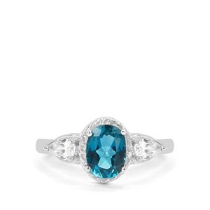 London Blue Topaz Ring with White Zircon in Sterling Silver 2.14cts