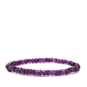 41ct Zambian Amethyst Graduated Strachable Bead Bracelet