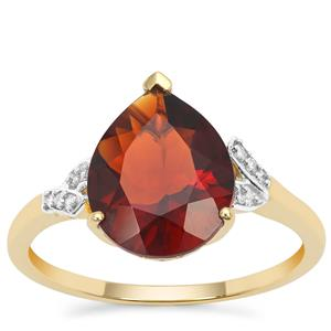 Madeira Citrine Ring with Diamond in 9K Gold 2.77cts