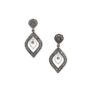 1ct Grey Diamond Sterling Silver Earrings