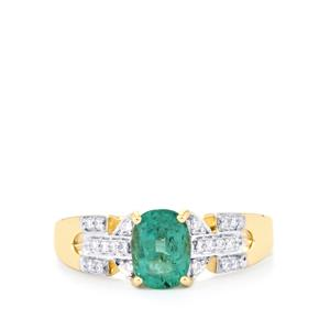 Zambian Emerald Ring with Diamond in 18K Gold 1.17cts