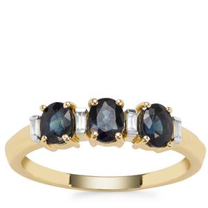 Australian Blue Sapphire Ring with White Zircon in 9K Gold 1.14cts