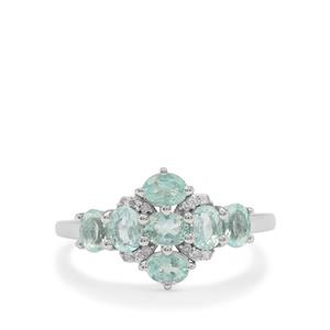 Aquaiba™ Beryl Ring with Diamond in 9K White Gold 1.15cts