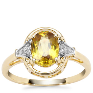 Ambilobe Sphene Ring with Diamond in 9K Gold 1.48cts