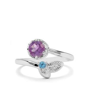 Moroccan Amethyst & Swiss Blue Topaz Sterling Silver Ring ATGW 0.87cts