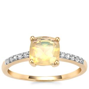 Ethiopian Opal Ring with White Zircon in 9K Gold 1.07cts