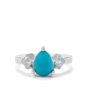 Sleeping Beauty Turquoise, Sky Blue Topaz & White Zircon Sterling Silver Ring ATGW 1.83cts