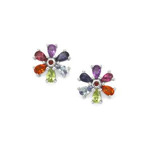 2.79ct Rainbow Gemstones Sterling Silver VIBGYOR Earrings