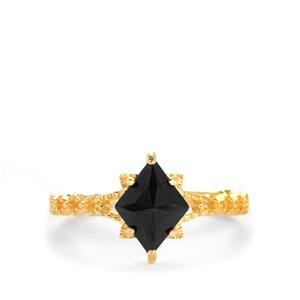Black Spinel Ring in Gold Tone Sterling Silver 1cts