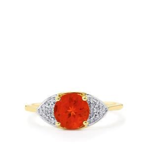 Tarocco Red Andesine Ring with Diamond in 10K Gold 1.08cts