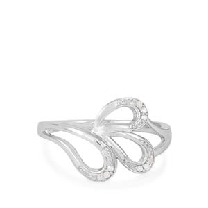 Diamond Ring in Rhodium Flash Sterling Silver 0.03ct
