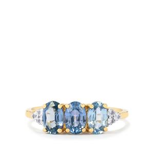 Madagascan Blue Sapphire Ring with White Zircon in 9K Gold 2cts