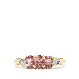 Mahenge Pink Spinel Ring with Diamond in 10K Gold 0.80ct