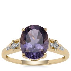 Montezuma Blue Quartz Ring with Diamond in 9K Gold 2.42cts