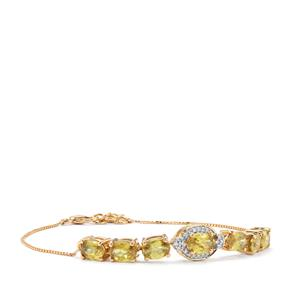 Ambilobe Sphene Bracelet with Diamond in 18K Gold 4.14cts