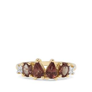 Bekily Colour Change Garnet Ring with White Zircon in 9K Gold 1.87cts