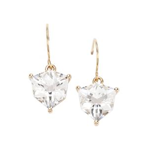 Alpine Cut Optic Quartz Earrings in 10k Gold 5.03cts