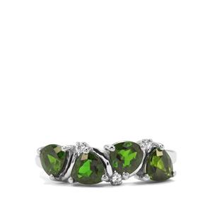 Chrome Diopside & White Zircon Sterling Silver Ring ATGW 2.10cts