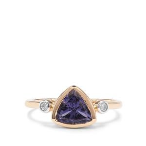 Bengal Iolite Ring with White Zircon in 9K Gold 1.33cts