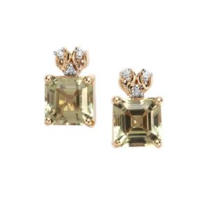 Asscher Cut Csarite® Earrings with Diamond in 10k Gold 2.56cts
