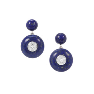 Sar-i-Sang Lapis Lazuli Earrings with Crystal Quartz in Sterling Silver 35.40cts
