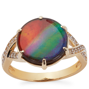 AA Ammolite Ring with White Zircon in 9K Gold (12mm)