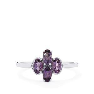 Mahenge Purple Spinel Ring with White Sapphire in 10k White Gold 1.02cts