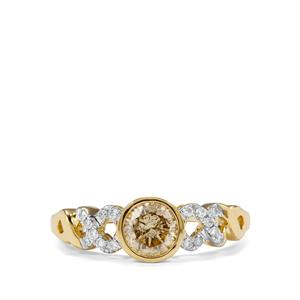 Natural Coloured Diamond Ring with White Diamond in 18K Gold 0.79ct