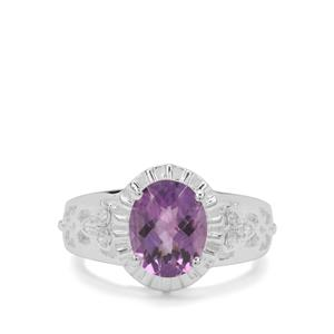 Amethyst Ring with White Zircon in Sterling Silver 2.43cts