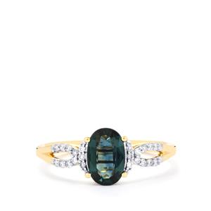 Nigerian Blue Sapphire Ring with Diamond in 18K Gold 1.28cts