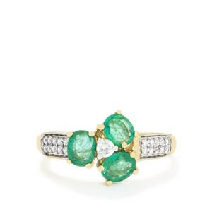 Zambian Emerald Ring with White Zircon in 10k Gold 1.16cts
