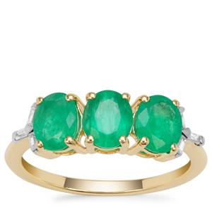 Siberian Emerald Ring with White Zircon in 9K Gold 2.06cts