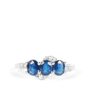 Kanchanaburi Sapphire Ring with White Zircon in 9K White Gold 1.49cts