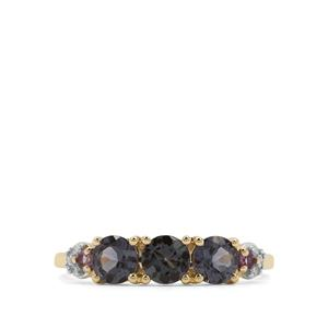 Mahenge Blue Spinel, Amethyst Ring with Diamond in 9K Gold 1.24cts