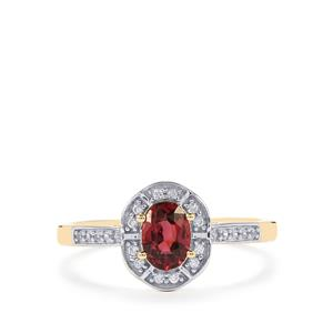Mahenge Red Spinel Ring with White Zircon in 9K Gold 0.78ct