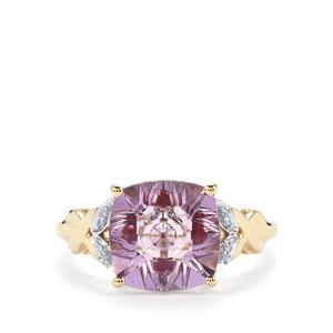 Lehrer KaleidosCut Rose De France Amethyst, Malagasy Ruby Ring with Diamond in 10K Gold 3.18cts (F)