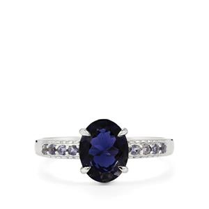 Bengal Iolite & Diamond Sterling Silver Ring ATGW 1.43cts