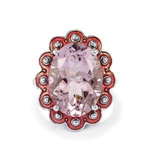 11.37ct Rose De France Amethyst Sterling Silver Enamel Ring
