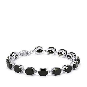 Black Spinel Bracelet in Sterling Silver 34.58cts